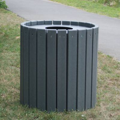 32 and 55 Gallon Round Recycled Plastic Trash Receptacle - Image 2