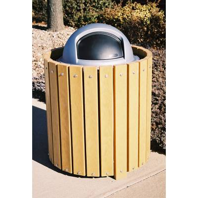 32 and 55 Gallon Round Recycled Plastic Trash Receptacle - Image 3