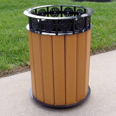 Trash Disposal - 20 Gallon Jamestown Recycled Plastic Trash Receptacle - Quick Ship