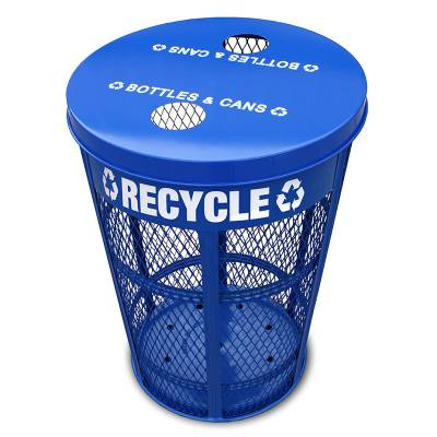 Trash Disposal - Recycling Receptacles - 48 Gallon Expanded Metal Recycling Receptacle
