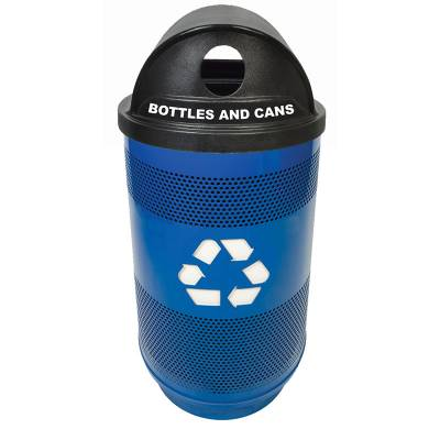 Trash Disposal - Recycling Receptacles - 55 Gallon Perforated Metal Recycling Container