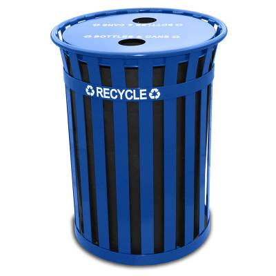 Trash Disposal - Recycling Receptacles - 36 Gallon Oakley Slatted Metal Recycling Receptacle