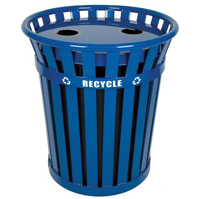 Trash Disposal - Recycling Receptacles - 36 Gallon Wydman Slatted Metal Recycling Receptacle