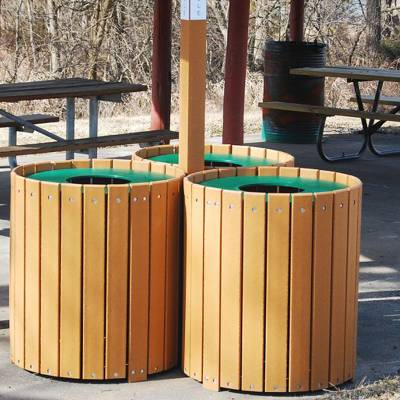 Trash Disposal - Recycling Receptacles - Round Recycling Center - 32 Gallon Recycled Plastic Trash Recycling Containers