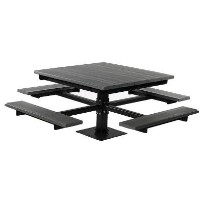 4' Recycled Plastic T Frame Picnic Table, Surface Mount  - Image 1