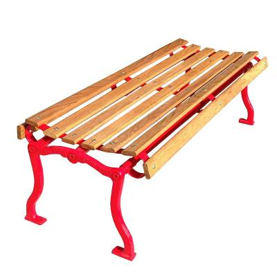 Park Benches - Natural Wood - 4', 5, 6' and 8' Iron Valley Slatted Backless Bench - Portable/Surface Mount.