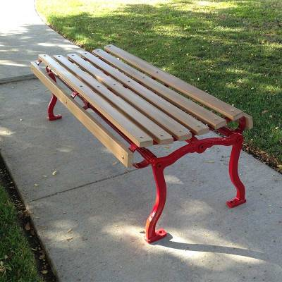 4', 5, 6' and 8' Iron Valley Slatted Backless Bench - Portable/Surface Mount. - Image 2