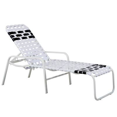 Poolside Furniture - Vinyl Strap Furniture - Welded Contract Siesta Stacking Cross Strap Chaise