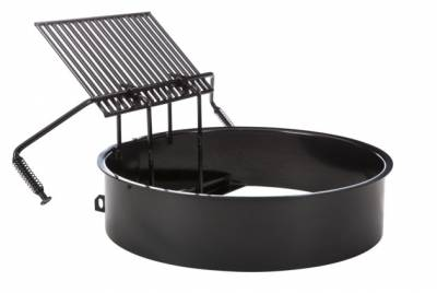 "Grills and Fire Rings - Fire Rings - 30"" x 9""Ht. Fully Adjustable Fire Ring - Single Flange"