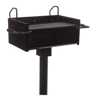 Grills and Fire Rings - Park Grills - Fully Adjustable Large Park Grill with Tilt Back Grate, 334 Sq. Inch - Inground Mount