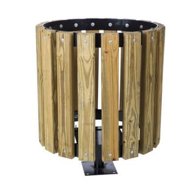 Trash Disposal - Outdoor Trash Receptacles - 55 Gallon Wood Trash Receptacle - Pine Slats