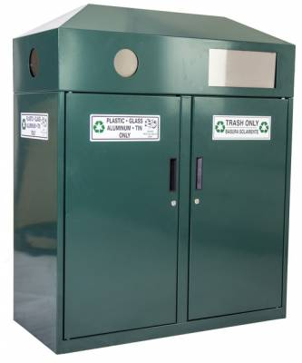 Trash Disposal - Recycling Receptacles - Double Trash/Recycling Container