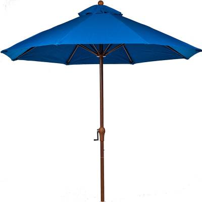 Umbrellas & Bases - 11 Ft. Monterey Aluminum Market Umbrella, Fiberglass Ribs - Crank Up without Tilt