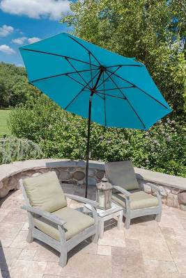 11 Ft. Monterey Aluminum Market Umbrella, Fiberglass Ribs - Crank Lift with Auto Tilt - Image 2