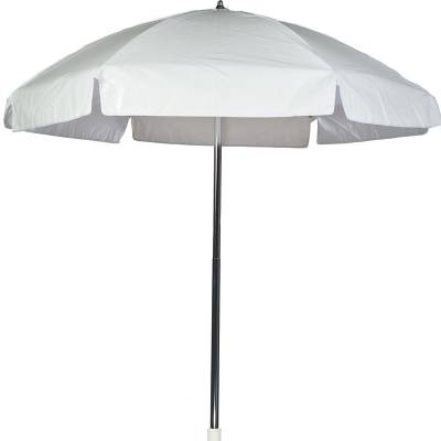 Umbrellas and Bases - Quick Ship Umbrellas - 6 1/2 Ft. Flat Top Umbrella, Steel Ribs - Push Up Style without Tilt
