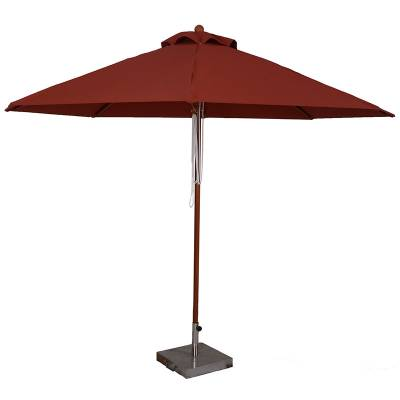 Umbrellas & Bases - 11 Ft.  Commercial Wood Market Octagon Umbrella - Double Pulley Lift Style