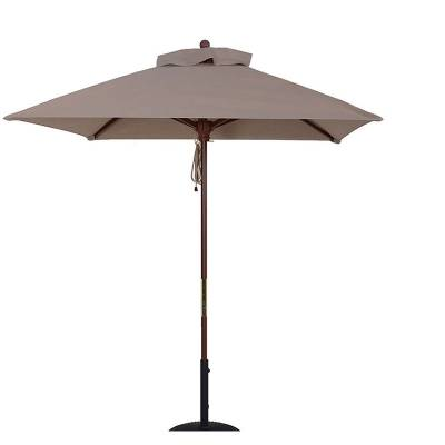 Umbrellas & Bases - 5 1/2 Ft. Square Commercial Wood Market Umbrella - Double Pulley Lift Style