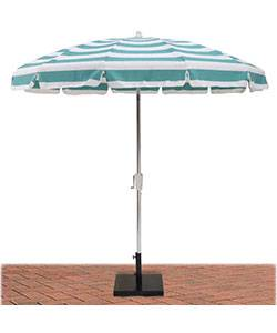 Umbrellas & Bases - Commercial Patio Umbrellas - 7 1/2 Ft. Flat Top Umbrella, Steel Ribs - Push Up Style without Tilt