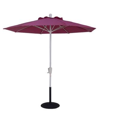 Umbrellas & Bases - 7 1/2 Ft. Commercial Aluminum Market Umbrella, Fiberglass Ribs - Crank Up Style with Auto Tilt
