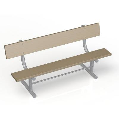 Park Benches - 6' Park Wood Bench - Portable, Surface and Inground Mount