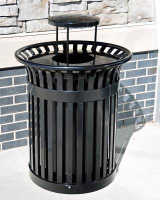 Trash Disposal - Outdoor Trash Receptacles - 32 Gallon Richmond Steel Trash Receptacle - Quick Ship