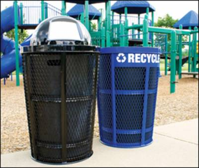 48 Gallon Expanded Metal Recycling Receptacle - Image 2