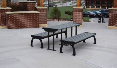 6' Recycled Plastic Heritage Picnic Table, Surface Mount - Image 2