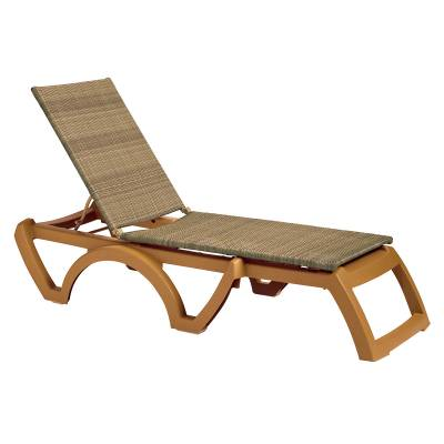 Grosfillex Patio Furniture - Resin Chaises - Java Adjustable Sling Stacking Chaise Lounge  - Sold in Packs of 2