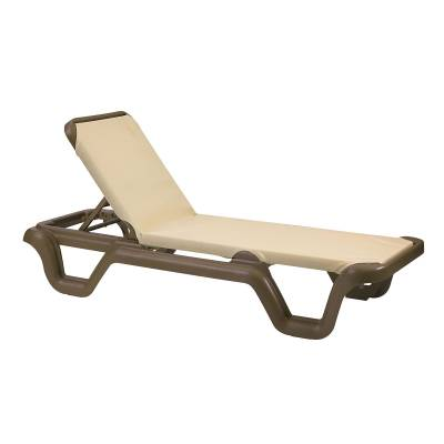 Grosfillex Patio Furniture - Resin Chaises - Marina Adjustable Sling Stacking Chaise Lounge