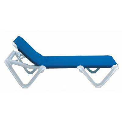 Grosfillex Patio Furniture - Resin Chaises - Nautical Adjustable Sling Stacking Chaise Lounge  - Sold in Packs of 2