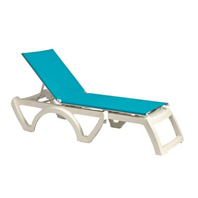 Grosfillex Patio Furniture - Resin Chaises - Calypso Adjustable Sling Stacking Chaise Lounge - Sold in Packs of 2