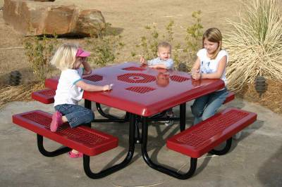 "Picnic Tables - Children's Tables - Elementary 46"" Square Semi-Solid Picnic Table - Portable"