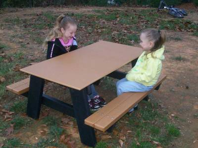 Picnic Tables - Children's Tables - Child's 4' Recycled Plastic A Frame Picnic Table, Portable - Quick Ship