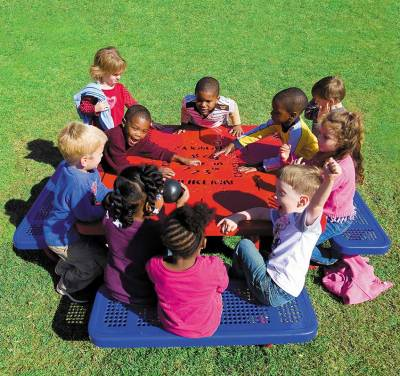"Picnic Tables - Children's Tables - 46"" Square Preschool Learning Picnic Table - Portable"