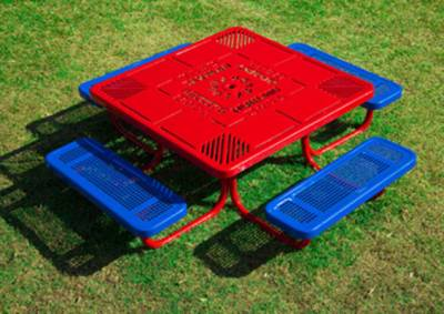 "46"" Square Preschool Learning Picnic Table - Portable - Image 2"