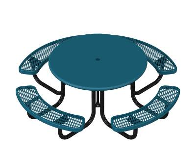 "Picnic Tables - 46"" Round Elementary Picnic Table, Solid Top  - Portable"