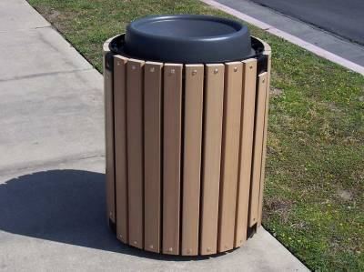 32 Gallon Township Trash Receptacle - Oak Slats - Image 3
