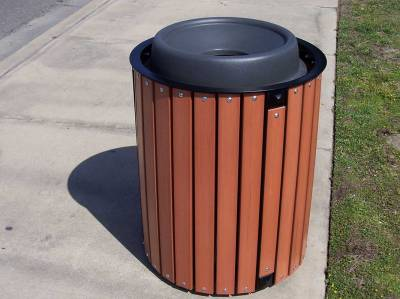 32 Gallon Township Trash Receptacle - Oak Slats - Image 4