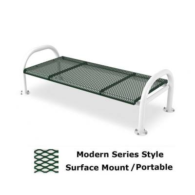 Park Benches - Thermoplastic Coated - 4' and 6' Modern Contoured Backless Bench - Portable/Surface and Inground Mount