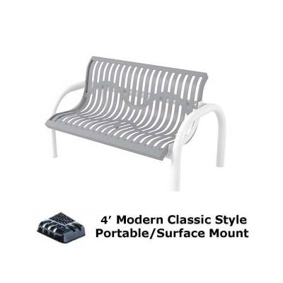 Park Benches - Thermoplastic Coated - 4' and 6' Modern Classic Bench - Portable/Surface and Inground Mount