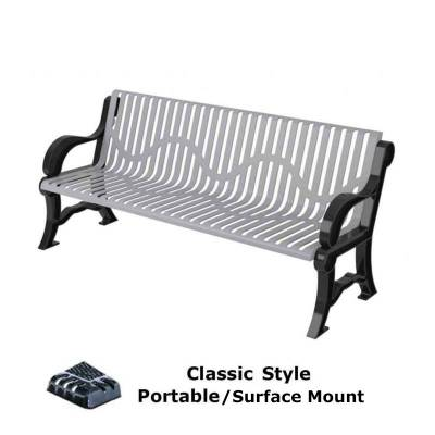 Park Benches - Thermoplastic Coated - 4', 5' and 6' Classic Bench - Portable/Surface Mount