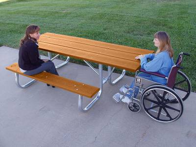 Picnic Tables - ADA Accessible - 7 1/2' Recycled Plastic Picnic Table with (2) 6 Ft. Attached Seats, Galvanized Frame - ADA - Portable