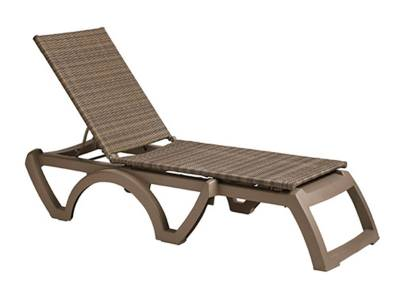 Grosfillex Patio Furniture - Resin Chaises - Java Adjustable Sling Stacking Chaise Lounge