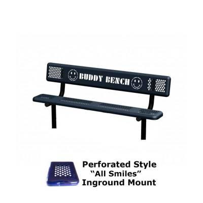 6' Perforated Buddy Bench - Portable, Surface and Inground Mount - Image 2