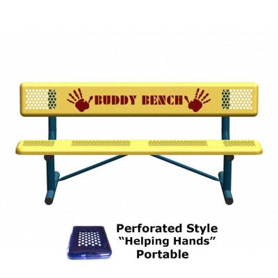 6' Perforated Buddy Bench - Portable, Surface and Inground Mount - Image 5