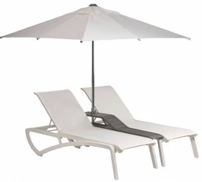 Grosfillex Patio Furniture - Sunset Sling - Sunset Sling Duo Chaise Lounge with Console