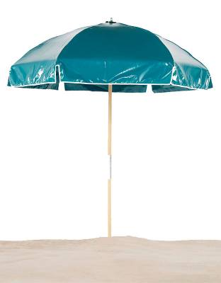 6 1/2 Ft. Wood Beach Umbrella, Steel Ribs - Image 2