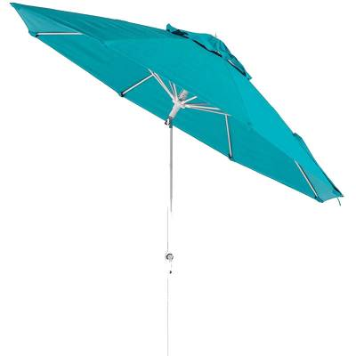 Umbrellas & Bases - Commercial Market Umbrellas - 11 Ft. Monterey Aluminum Market Umbrella, Fiberglass Ribs - Crank Lift with Auto Tilt