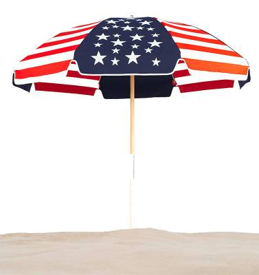7 1/2 Ft. Wood Beach Umbrella, Steel Ribs - Image 2