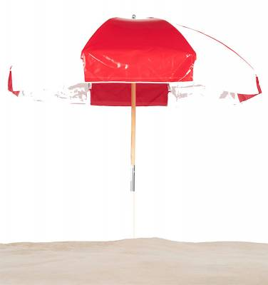 7 1/2 Ft. Wood Beach Umbrella, Steel Ribs - Image 1